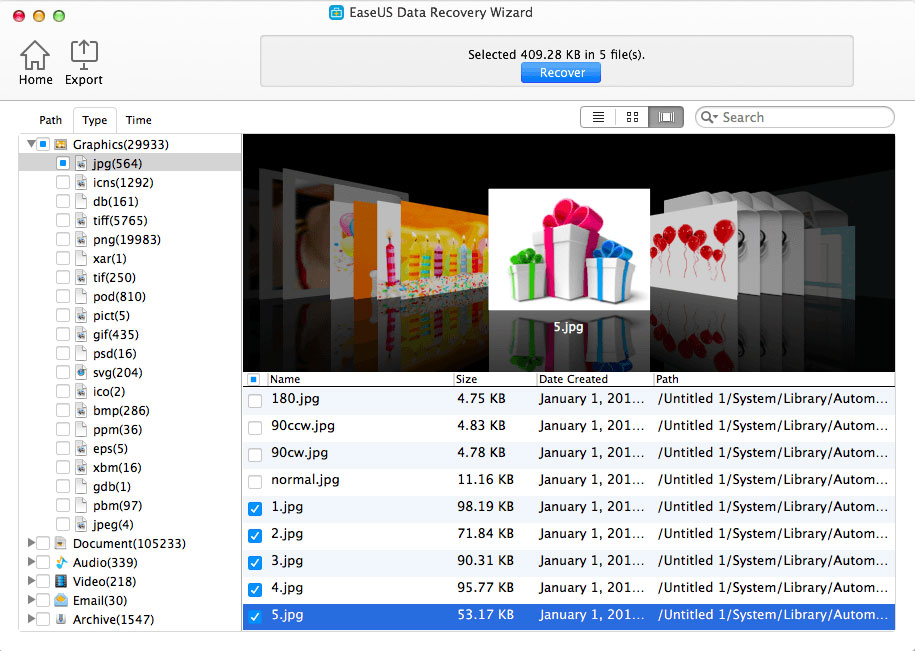 Data Recovery for Mac Preview scan results