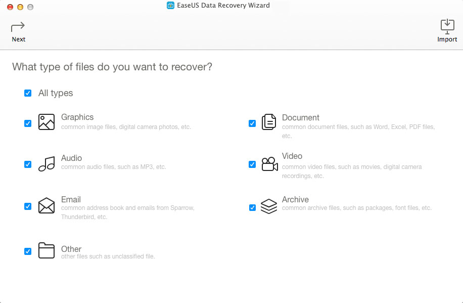 Data Recovery for Mac choose recovery file