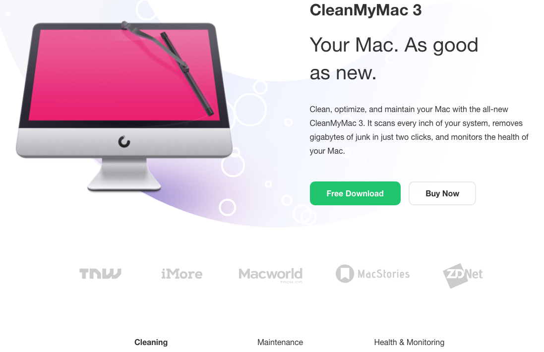 CleanMyMac 3 cleaning tool