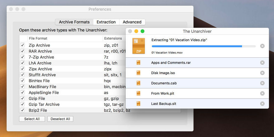 The Unarchiver app for Mac