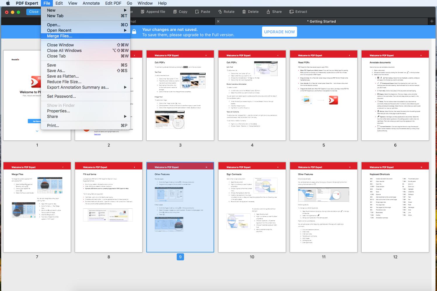 merge pdf file with PDF expert scr