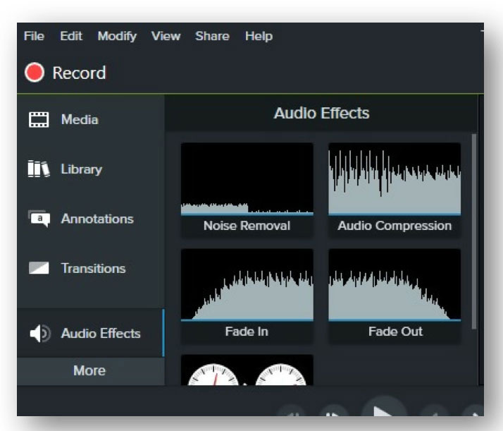 camtasia review - add audio effects