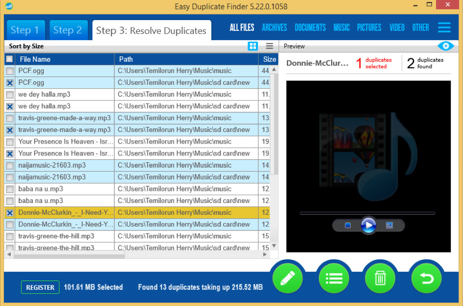 easy duplicate finder found duplicated music files