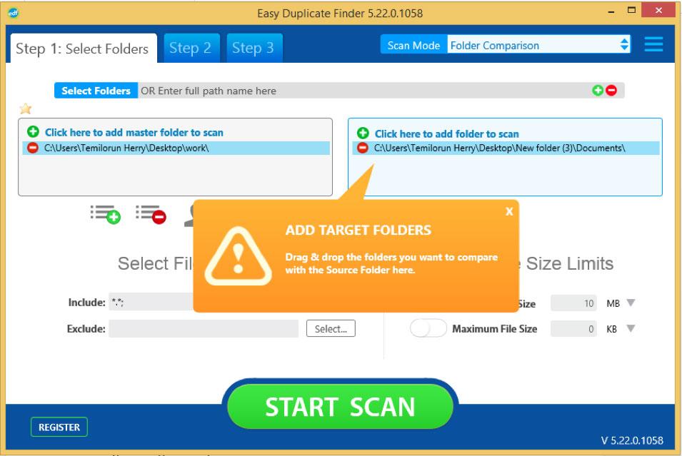 Easy Duplicate Finder folder comparison