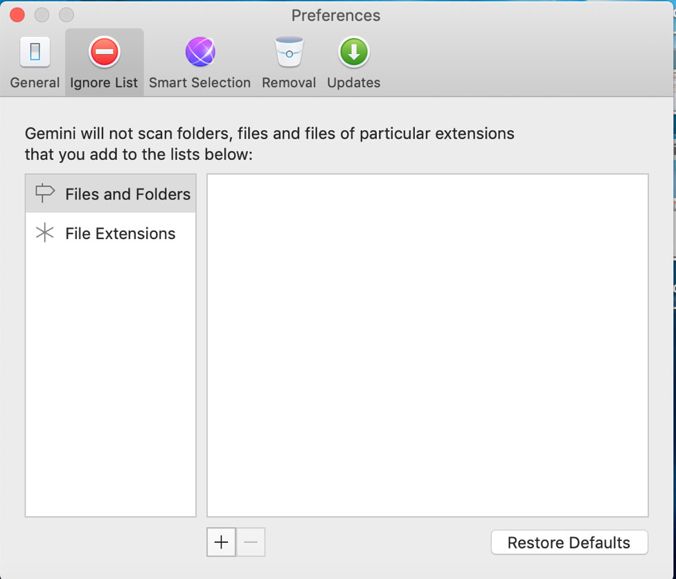 Gemini 2 Duplicate Finder let you ignore some specific folder or files