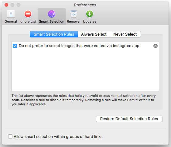 Gemini 2 Duplicate Finder for Mac preference