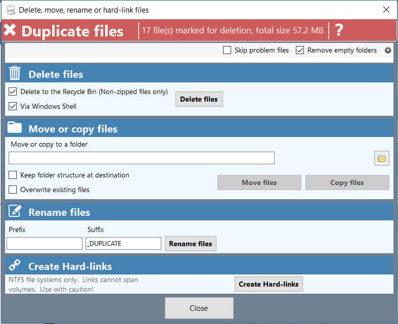 Duplicate Cleaner Pro file removal