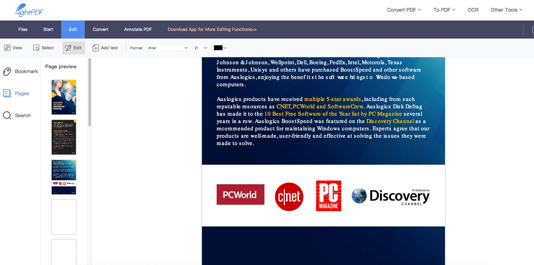 free pdf editor online -LightPDF to edit pdf free