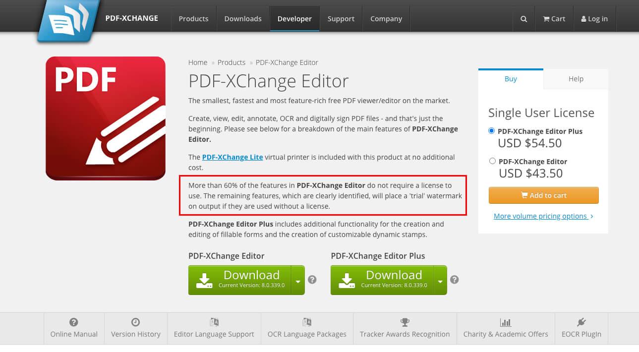 PDF-XChange Editor free PDF editor page