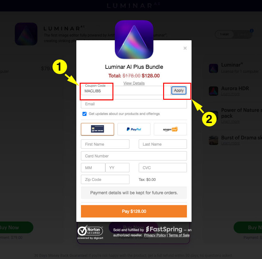 how to apply coupon code on Luminar AI